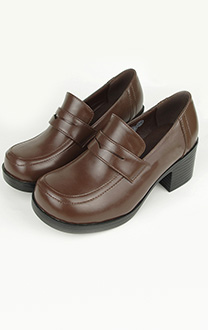Middle Stacked Heels Square Toe PU Japanese School Shoes