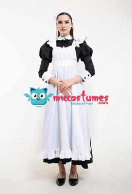 クラシック メイド 制服 長いドレス コスプレ コスチューム カチューシャ付き