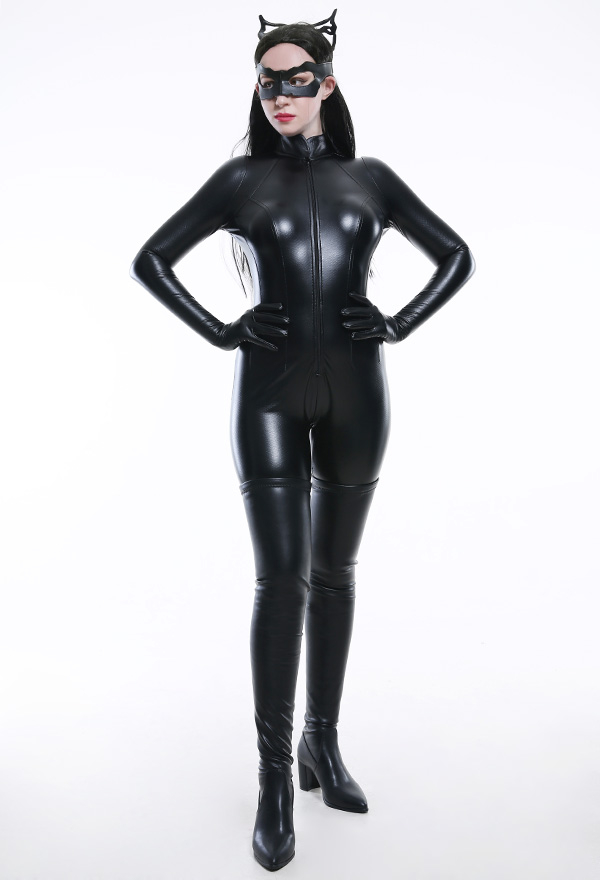 キャットウーマン 女主人公 コスプレ衣装 セクシーな黒色ボディースーツ