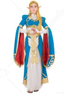 ae46794cfb019 ゼルダの伝説 ブレス ゼルダ姫 ブルー 長い ドレス ガウン コスプレ コスチューム ハロウィン