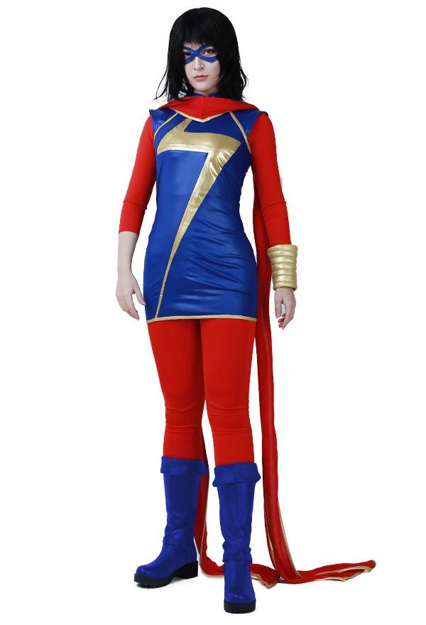 スーパーヒーロー コスプレコスチューム マフラーとアイマスク付き ミズ・マーベル カマラ・カーンからインスピレーションを受け オーダーメイド