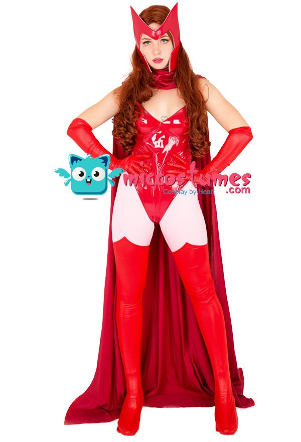 スーパーヒロインコスプレコスチュームボディスーツは、スカーレットの魔女に触発され、マントとマスク