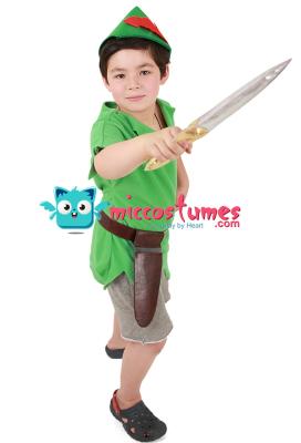 ピーターパン 子供 ハロウィン コスプレ 衣装 帽子と剣付き