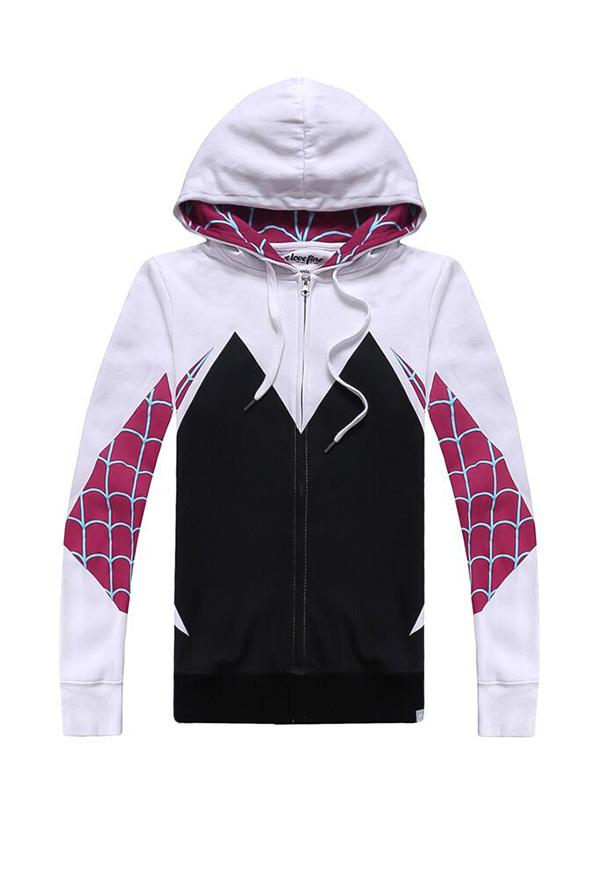 スパイダーマン:スパイダーバース グウェン・ステイシー コスプレ 衣装 パーカー スウェット 女性