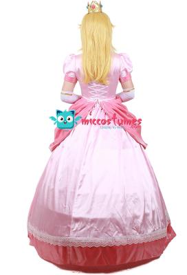 スーパーマリオブラウス プリンセス ピーチ コスプレ 衣装 ピンク ドレス クラウン付き