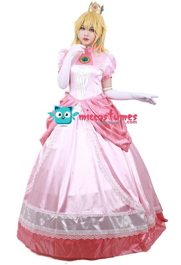 スーパーマリオブラウス ピーチ姫 コスプレ衣装 プリンセスピンクドレス 王冠付き