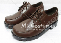 Square Toe Front Tie PU Japanese School Shoes