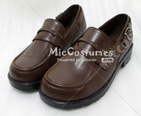 Square Toe With Buckled Heel Strap PU Japanese School Shoes